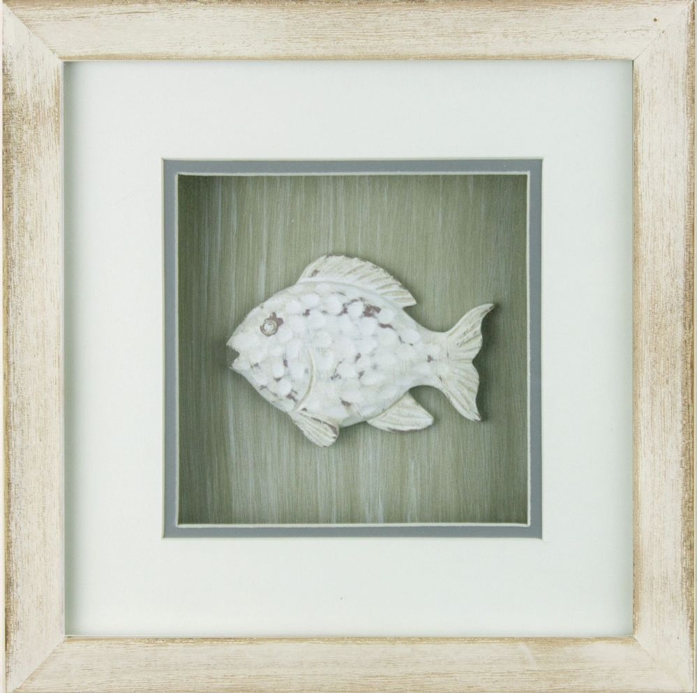 Fish In White Wash Distressed Wooden Frame Coastal Wall Decor